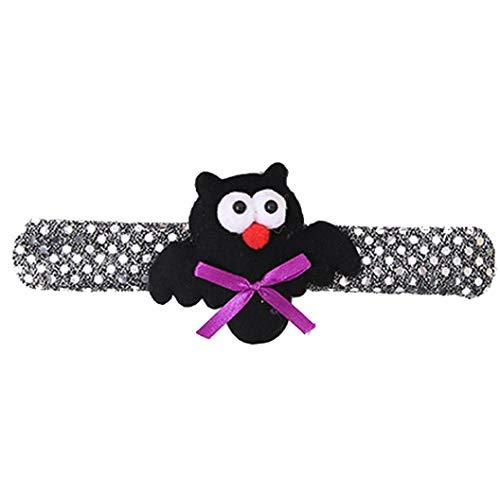 NewKelly Halloween Glow Slap Bracelet Party Decor Pat Circle Hand Ring Pumpkin Bat Feat (C) for $<!--$3.71-->