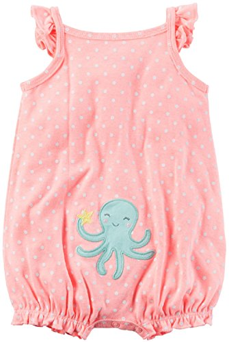 Carter's Baby Girls' Snap Up Romper (White Pink, 24 Months)