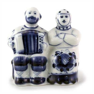 Old Man and Woman Figurine. Blue and White Porcelain. Gzhel