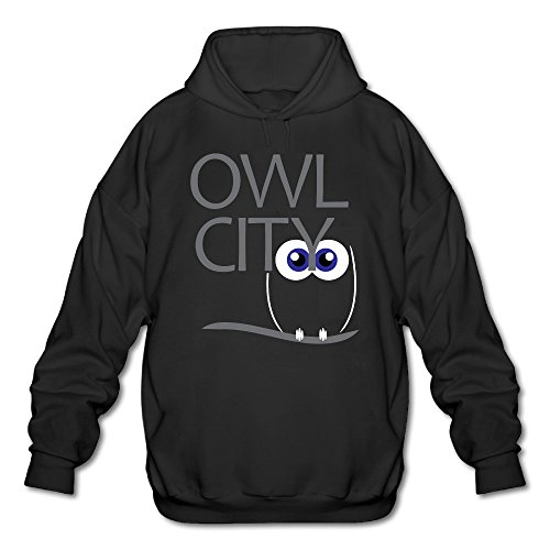 (PHOEB Mens Sportswear Drawstring Hoodies Outwear Jacket,cute Owl Eyes City Black Large)