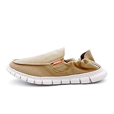 BABAYA Men's Slip-On Walking Loafers Casual Comfort Fashion Sneaker Lightweight Comfortable Soft Outdoor Boat Shoes Beige Size: 7.5