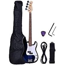Polar Aurora NEW Full Size 4 Strings Blue Electric Bass Guitar+ Amp Cord+ Gigbag