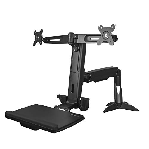 StarTech.com Sit Stand Dual Monitor Arm - for 2 x 24in Monitors - Height Adjustable - VESA Dual Monitor Stand - Sit Stand Workstation -  ARMSTSCP2