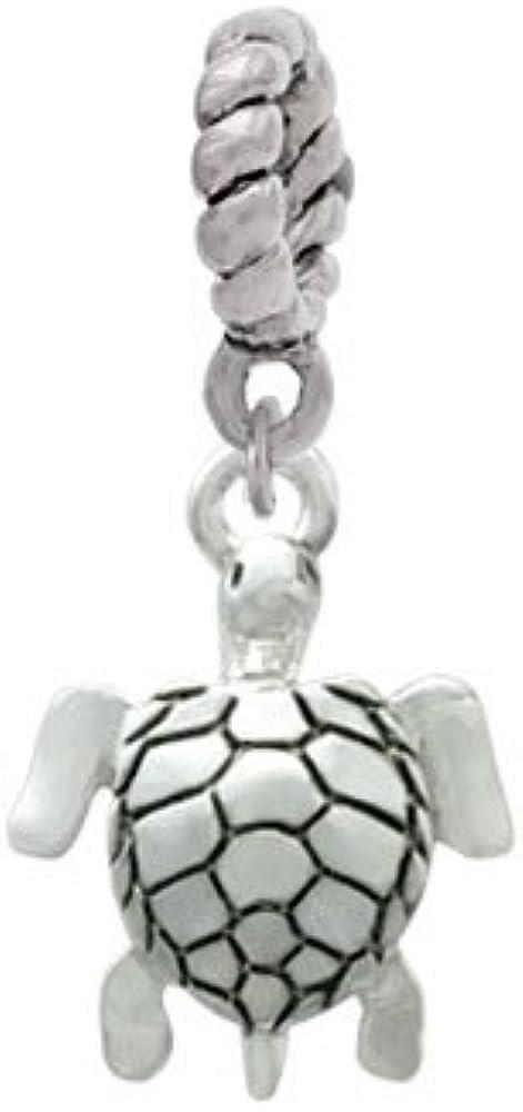 Rope Charm Bead Silvertone Sea Turtle