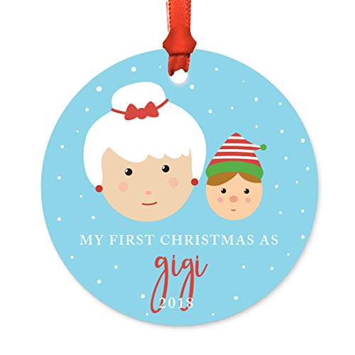 Andaz Press Family Round Metal Christmas Ornament, My First Christmas As Gigi 2018, Santa and Mrs. Claus with Elf, 1-Pack, Includes Ribbon and Gift Bag -  APP12134