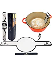 """Bread Basics Silicone Baking Mat for Dutch Oven Bread Baking w/Storage Band - Long Handles for Gentler & Safer Transfer of Dough - Easy to Clean - Eco-Friendly Alternative for Parchment Paper - 8.3"""""""