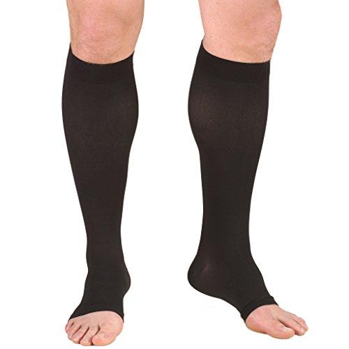 Truform Open Toe, Knee High 20-30 mmHg Compression Stockings, Black, X-Large