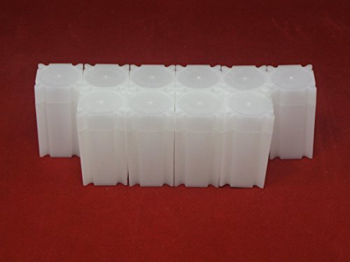 (10) Coinsafe Brand Square White Plastic (Small Dollar) Size Coin Storage Tube Holders