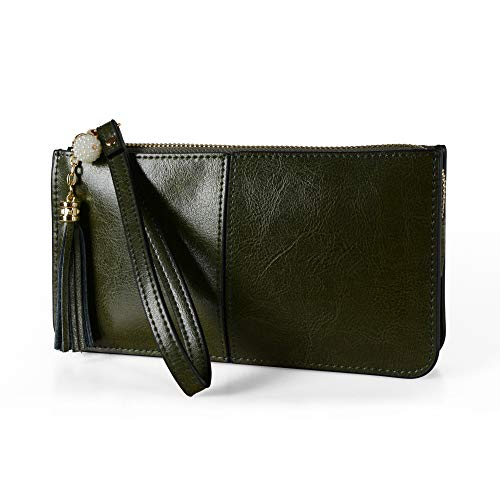 (Befen Soft Leather Wristlet Phone Wallet Clutch Wristlet with Exquisite Tassels - Vintage Forest Green)
