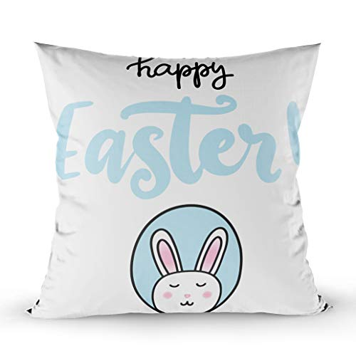 (EMMTEEY Home Throw Pillowcase for Sofa Cushion Cover Written Happy Easter Banner Poster Sale Invitation Template Egg Bunny Rabbit in Cartoon Decorative Square Double Sided Printing)