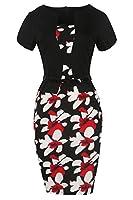 Babyonlinedress Babyonline Women's Patchwork Floral Print Business Work Bodycon Pencil Dress