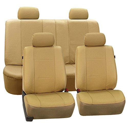 FH GROUP FH-PU007114 Deluxe Leatherette Full Set Car Seat Covers, Airbag Ready and Split, Solid Beige Color- Fit Most Car, Truck, Suv, or Van