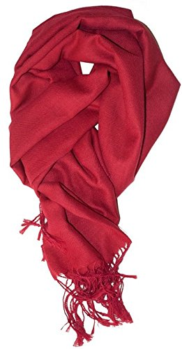 LibbySue-A Luxurious Pashmina Scarf in Beautiful Solid Colors (Ruby Red)