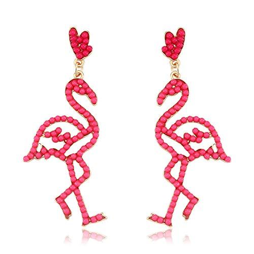 CEALXHENY Bead Drop Earrings Handmade Beaded Dangle Earrings Bohemia Flamingo Seed Bead Earring for Women Girls (Flamingo)