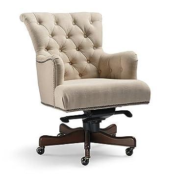 desk chair chrome home garden free product shipping safavieh office ian linen swivel leg