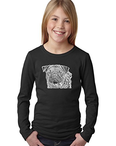 Girl's Long Sleeve Word Art T-Shirt - Pug Face- LA Pop Art -