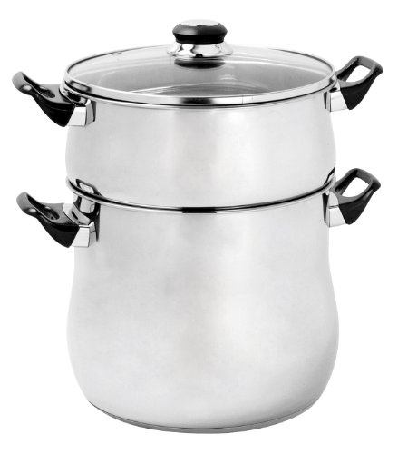 Crealys 505707 Stainless Steel Couscous Cooker with Bakelite Handle Glass Lid 8 L