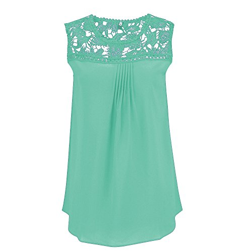 Pleated Ruffle Tank (Women Chiffon Tank Tops Plus Size,Lelili Sexy Floral Lace Patchwork Ruffle Pleated Tunic Tops Vest Casual Shirt Blouse (4XL(Asian 4XL=US 2XL), Green))