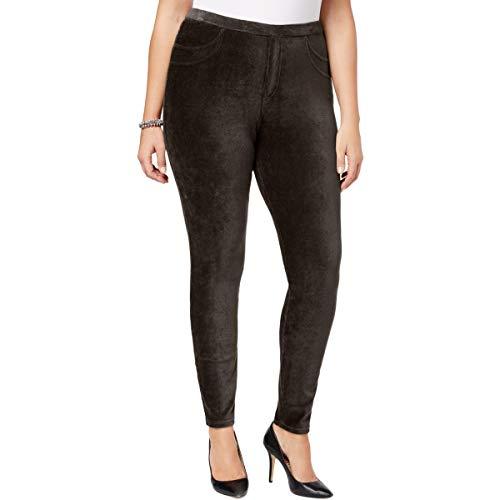 Style & Co. Womens Plus Corduroy Curvy Leggings Brown 3X