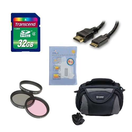 Panasonic HC-V750K Camcorder Accessory Kit includes: SD32GB Memory Card, SDC-26 Case, GBFLK49 Filter, HDMI6FM AV & HDMI Cable, ZELCKSG Care & Cleaning by Synergy Digital