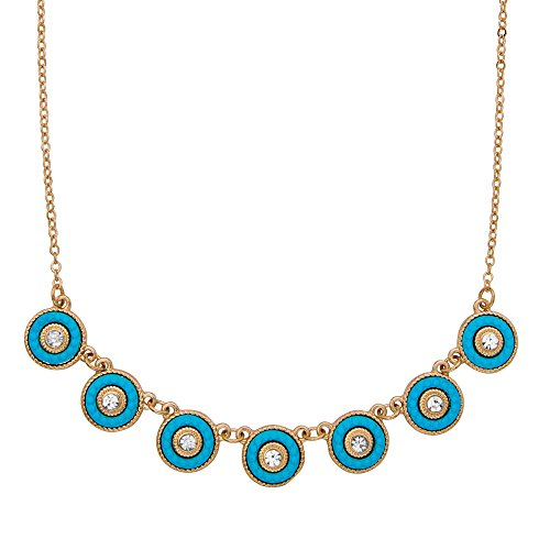 14k Yellow Gold Plated Crystal and Simulated Turquoise Halo Collar Rolo Link Necklace 16
