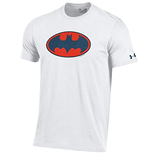 Under Armour Men's-Alter Ego-Batman-Charged Cotton-Performance T-Shirt-White/Orange and Navy (Batman T Shirt)