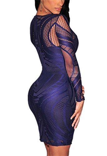 Aderente Manicotti Donne Nudo Pizzo Attraverso Blu Illusione Vede Allonly I Delle Vestito xnv8A7qqB