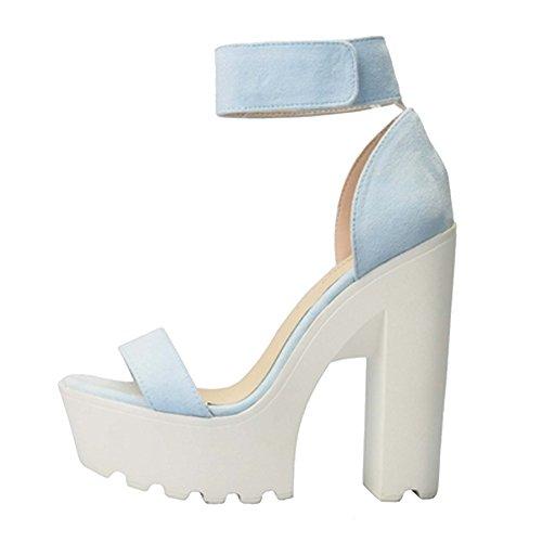 Sole Suede High Chunky Women's Sandals Lug Platform Fashion Heel Blue qawBxT6vUx