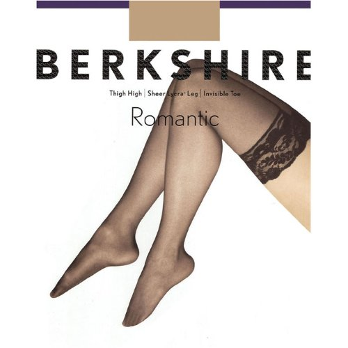 Berkshire Women's Romantic Lace Top Thigh High Pantyhose 1363, Black, Queen 2