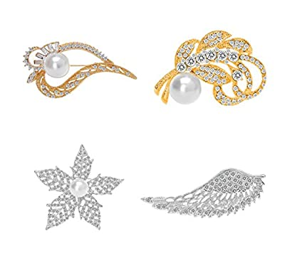4 Pcs Flower Leaf shape Pearl Brooches 18K Gold Plated Crystal Brooches for women Girls
