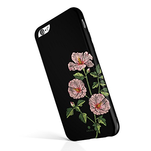 Case Phone Embroidered (iPhone 6/6s case for Girls, Akna Collection High Impact Flexible Silicon Case for Both iPhone 6 & iPhone 6s [Embroidery Hibiscus](741-U.S))