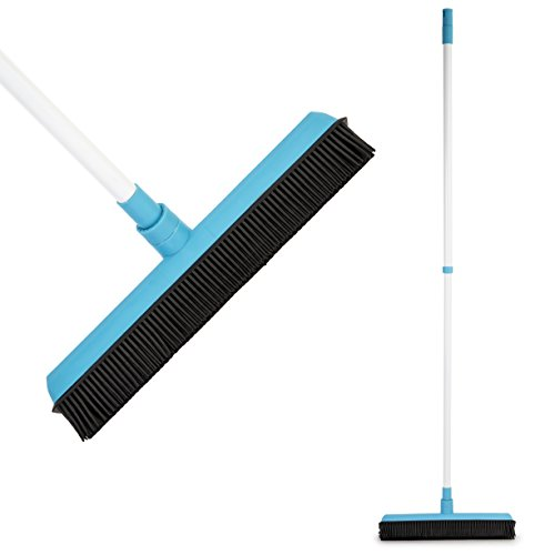 Rubber Broom - Soft Natural Rubber Bristles with Built-in Squeegee Edge, with Telescopic Rod Adjustable - Water Resistant - Perfect for Cat/Dog Hair (Soft Natural Bristles Floor Tool)