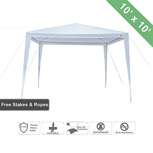 VINGLI Heavy Duty 10'x10' Outdoor Canopy Gazebo Tent with Upgraded Thick Tube, Waterproof Sun Shelter, Instant Folding, UV Protection for Party Wedding, Beach, Backyard, Patio, Pool