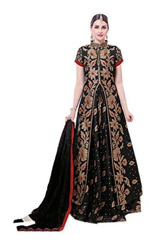The Stylam Indian Women Designer Partywear Ethnic Traditonal Black Anarkali Salwar Kameez by The Stylam