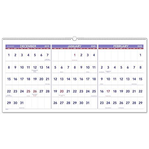 - AT-A-GLANCE 2020 Wall Calendar, 3-Month Display, 23-1/2
