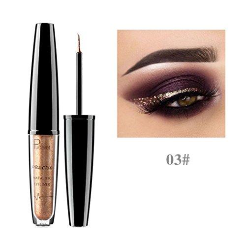 (Women's Smoky Eyes Eyeliner, Iuhan Metallic Shiny Smoky Eyes Eyeshadow Waterproof Glitter Liquid Eyeliner (C))