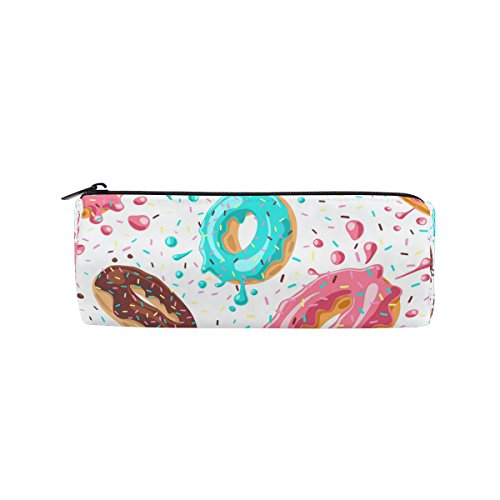 - Round Pencil Case Bag Donuts White Multi Function School Supplies Organizer Pouch Bag with Zipper Closure