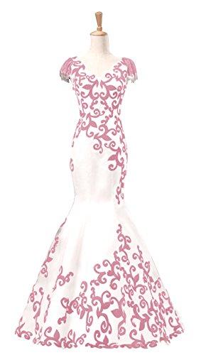 Annies Robe De Bal Des Femmes De Sirène De Mariée Velours Mancherons De Appliqué Robe Formelle A4