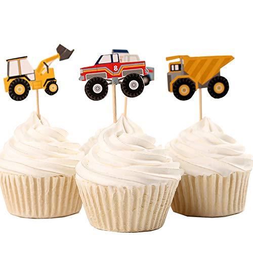 Fumee 24 Truck Tractor Excavator Dumpers Car Cupcake