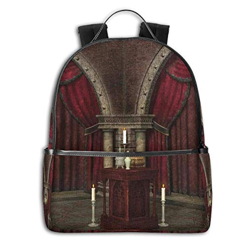 College Backpacks for Women Girls,Mysterious Dark Room In Castle Ancient Pillars Candles Spiritual Atmosphere Pattern,Casual Hiking Travel Daypack