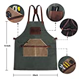 Woodworking Apron,Leather Work Apron,Waxed Canvas
