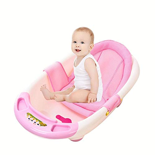 Tinffy Infant Adjustable Tub Non-Slip T-Shaped Shower Net Baby Bath Mesh Bathing Tubs & Seats (Pink) from Tinffy