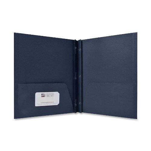 (Sparco 2-Pocket Folders, with Fasteners, 1/2-Inch Capacity, Letter, 25 per Box, Dark Blue (SPR71443))