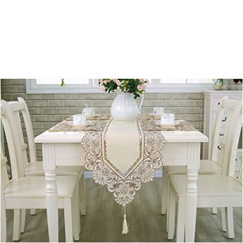 US-ROGEWIN Table Runner Gorgeous Tassels Embroidered Floral Soft Lace Dust Proof Covers for Home Party Wedding - Rose C40