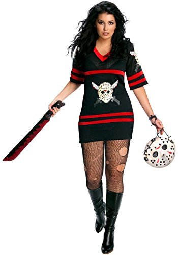 Womens Plus-Size Secret Wishes Full Figure Friday The 13th Miss Voorhees Costume, Black, One Size