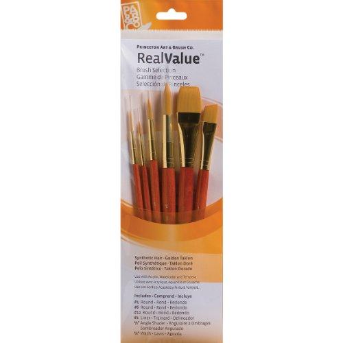 RealValue Golden Taklon Brushes (Set of 6) ()