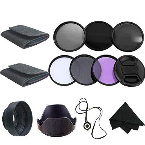 58MM UV CPL Polarizer ND2 4 8 Filter Kit Set + Lens Hood + Cap + Cleaning Cloth for Canon EOS 600D 700D 750D 1200D Camera Lens