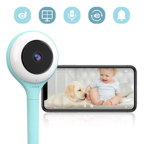 Lollipop HD WiFi Video Baby/Pet Monitor (Turquoise)- Supports 2 Cameras and Up, Night Vision, Noise & Crying Detection, 2-Way Talk Back, Wall Mount- Baby Boy Girl Shower Gift (Best Android Lollipop Features)