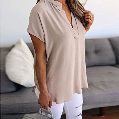 V Cou Shirts Et Kaki Mode Bouffant Haut Courtes HX Mode Irrgulier Loisir Manches Jeune Manche Vetement Uni Chemisiers fashion Mousseline Chemisier lgant Femme Basic SKvzpq