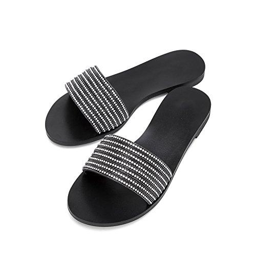 alti estivi con 35 da Sandali a basso casual basso Pantofole tacco alla Sandali Nero DHG moda Sandali donna piatti tacco Tacchi U5qRUFp